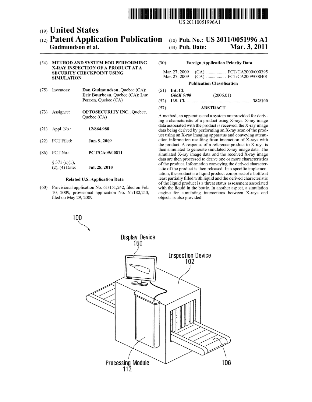 METHOD AND SYSTEM FOR PERFORMING X-RAY INSPECTION OF A PRODUCT AT A SECURITY CHECKPOINT USING SIMULATION - diagram, schematic, and image 01