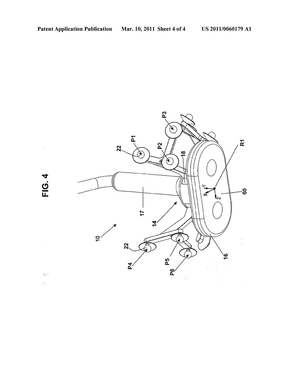 Transcranial magnetic stimulation induction coil device with attachment portion for receiving tracking device - diagram, schematic, and image 05