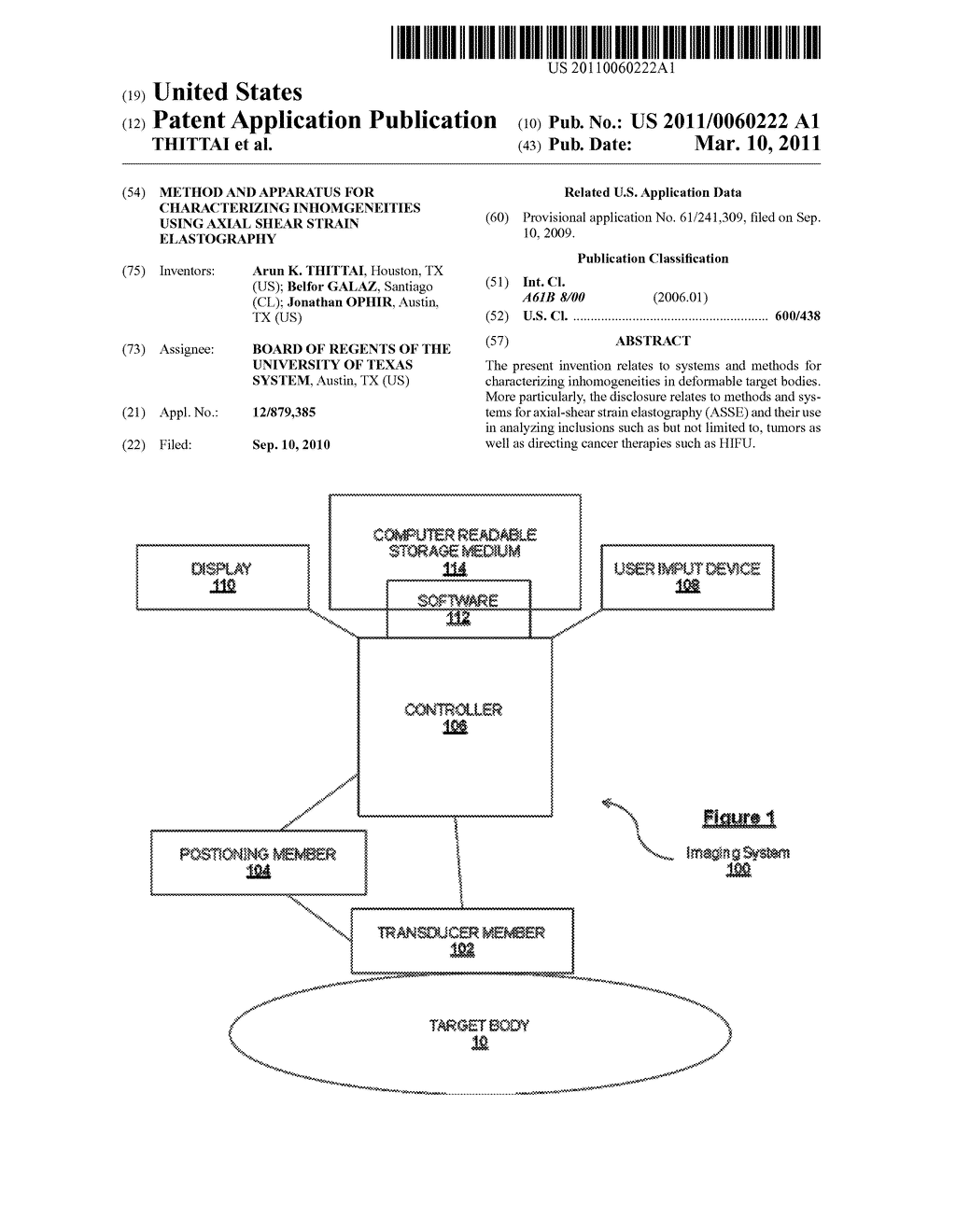 METHOD AND APPARATUS FOR CHARACTERIZING INHOMGENEITIES USING AXIAL SHEAR STRAIN ELASTOGRAPHY - diagram, schematic, and image 01