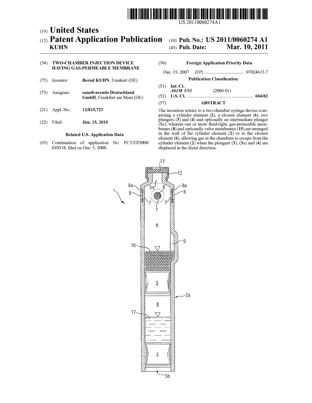 TWO-CHAMBER INJECTION DEVICE HAVING GAS-PERMEABLE MEMBRANE - diagram, schematic, and image 01