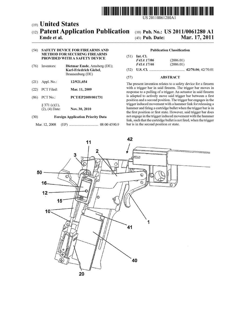 SAFETY DEVICE FOR FIREARMS AND METHOD FOR SECURING FIREARMS PROVIDED WITH A SAFETY DEVICE - diagram, schematic, and image 01