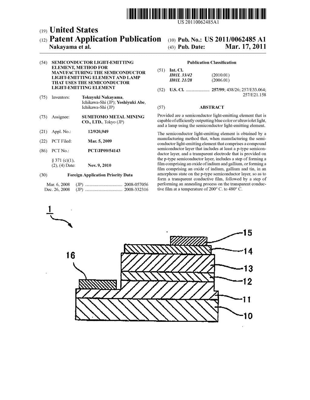 SEMICONDUCTOR LIGHT-EMITTING ELEMENT, METHOD FOR MANUFACTURING THE SEMICONDUCTOR LIGHT-EMITTING ELEMENT AND LAMP THAT USES THE SEMICONDUCTOR LIGHT-EMITTING ELEMENT - diagram, schematic, and image 01
