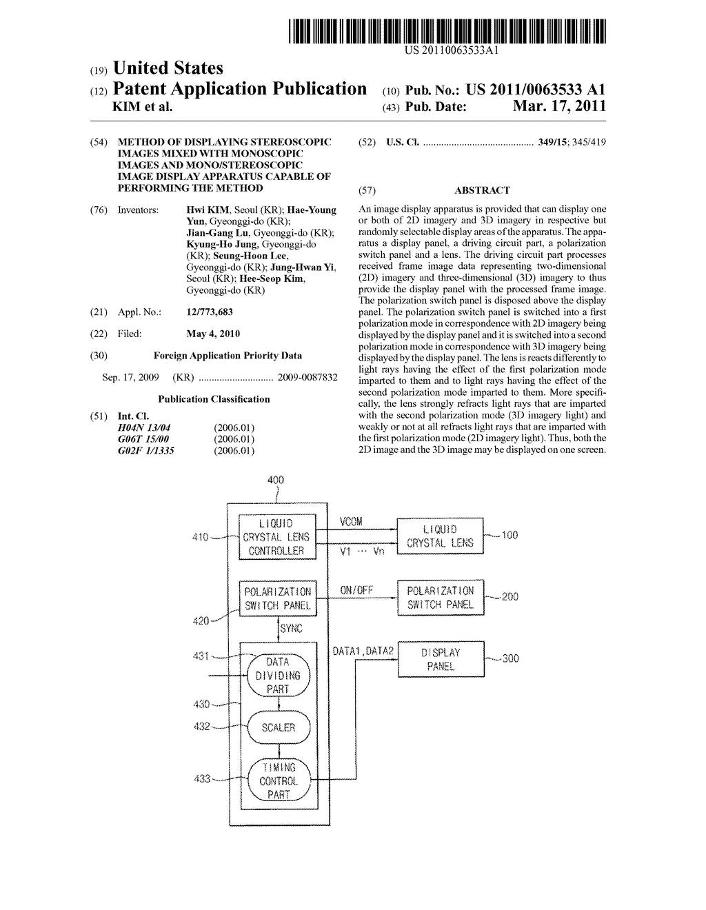 METHOD OF DISPLAYING STEREOSCOPIC IMAGES MIXED WITH MONOSCOPIC IMAGES AND MONO/STEREOSCOPIC IMAGE DISPLAY APPARATUS CAPABLE OF PERFORMING THE METHOD - diagram, schematic, and image 01