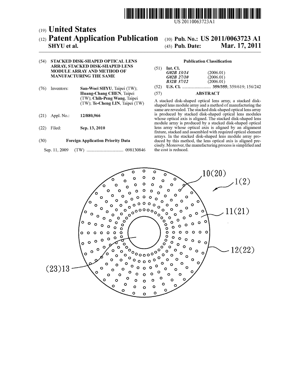 STACKED DISK-SHAPED OPTICAL LENS ARRAY, STACKED DISK-SHAPED LENS MODULE ARRAY AND METHOD OF MANUFACTURING THE SAME - diagram, schematic, and image 01