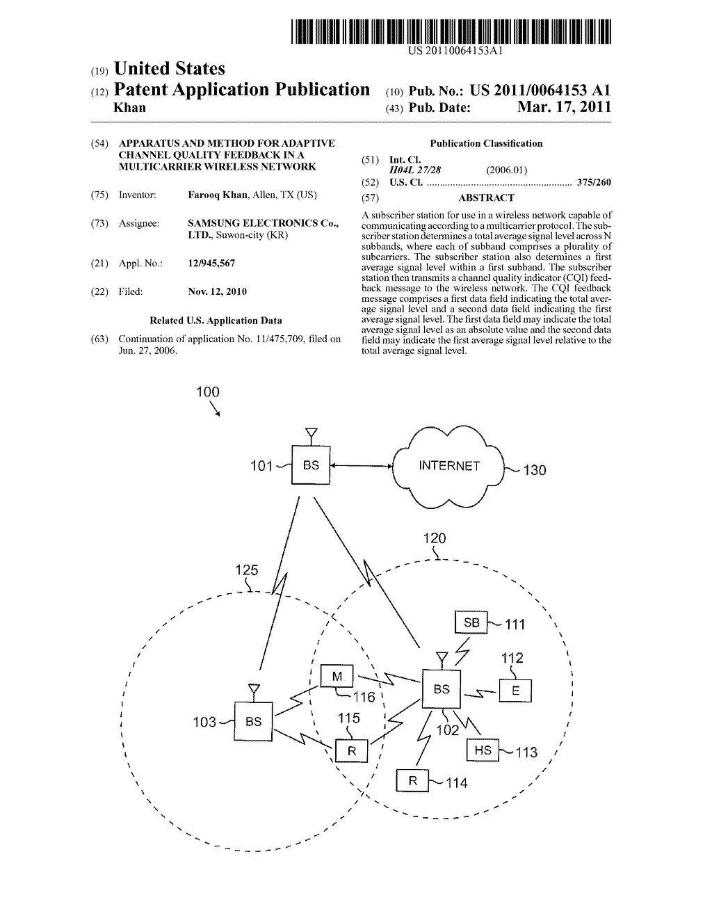 APPARATUS AND METHOD FOR ADAPTIVE CHANNEL QUALITY FEEDBACK IN A MULTICARRIER WIRELESS NETWORK - diagram, schematic, and image 01