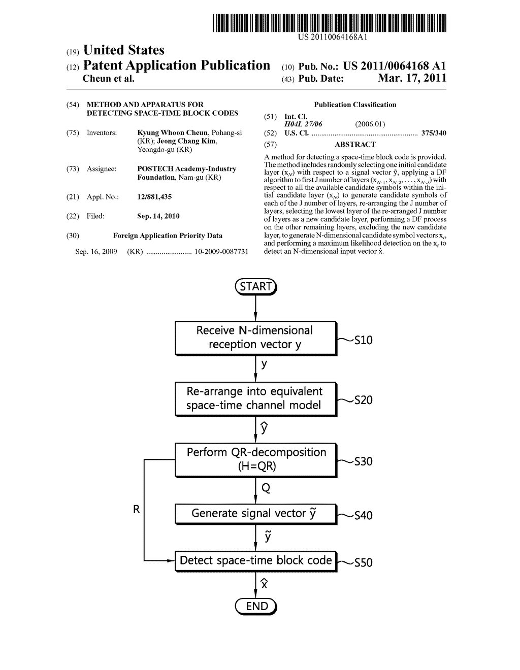 METHOD AND APPARATUS FOR DETECTING SPACE-TIME BLOCK CODES - diagram, schematic, and image 01