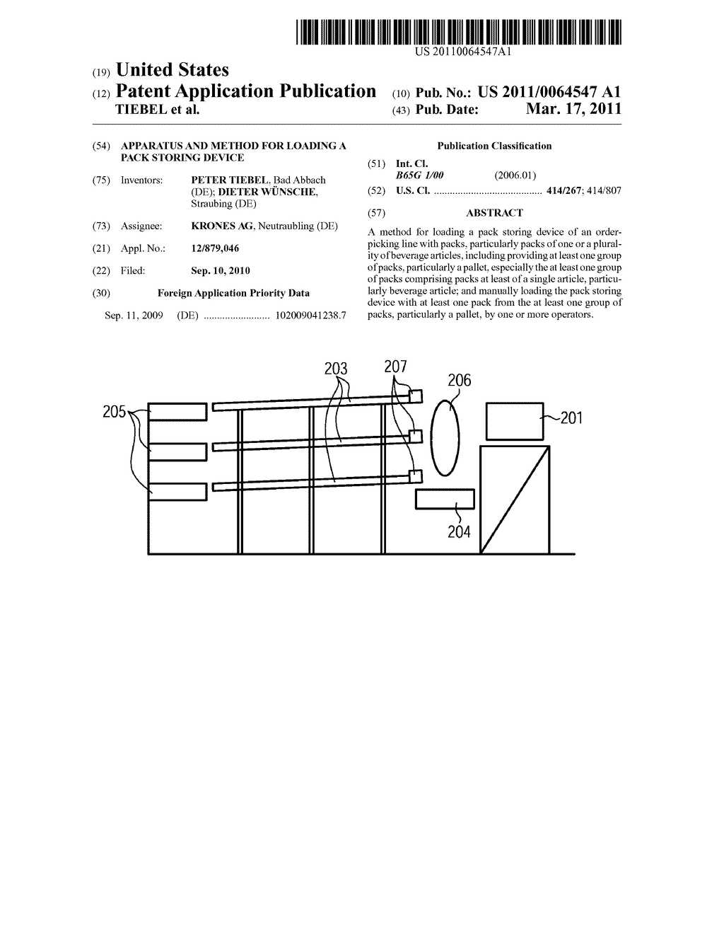 APPARATUS AND METHOD FOR LOADING A PACK STORING DEVICE - diagram, schematic, and image 01
