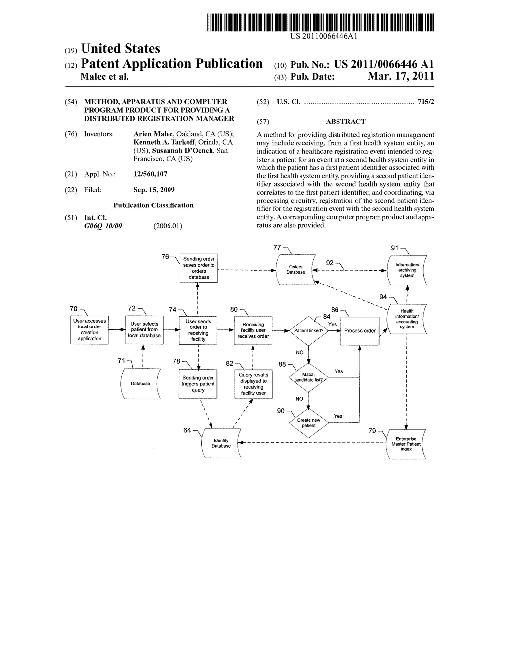 METHOD, APPARATUS AND COMPUTER PROGRAM PRODUCT FOR PROVIDING A DISTRIBUTED REGISTRATION MANAGER - diagram, schematic, and image 01