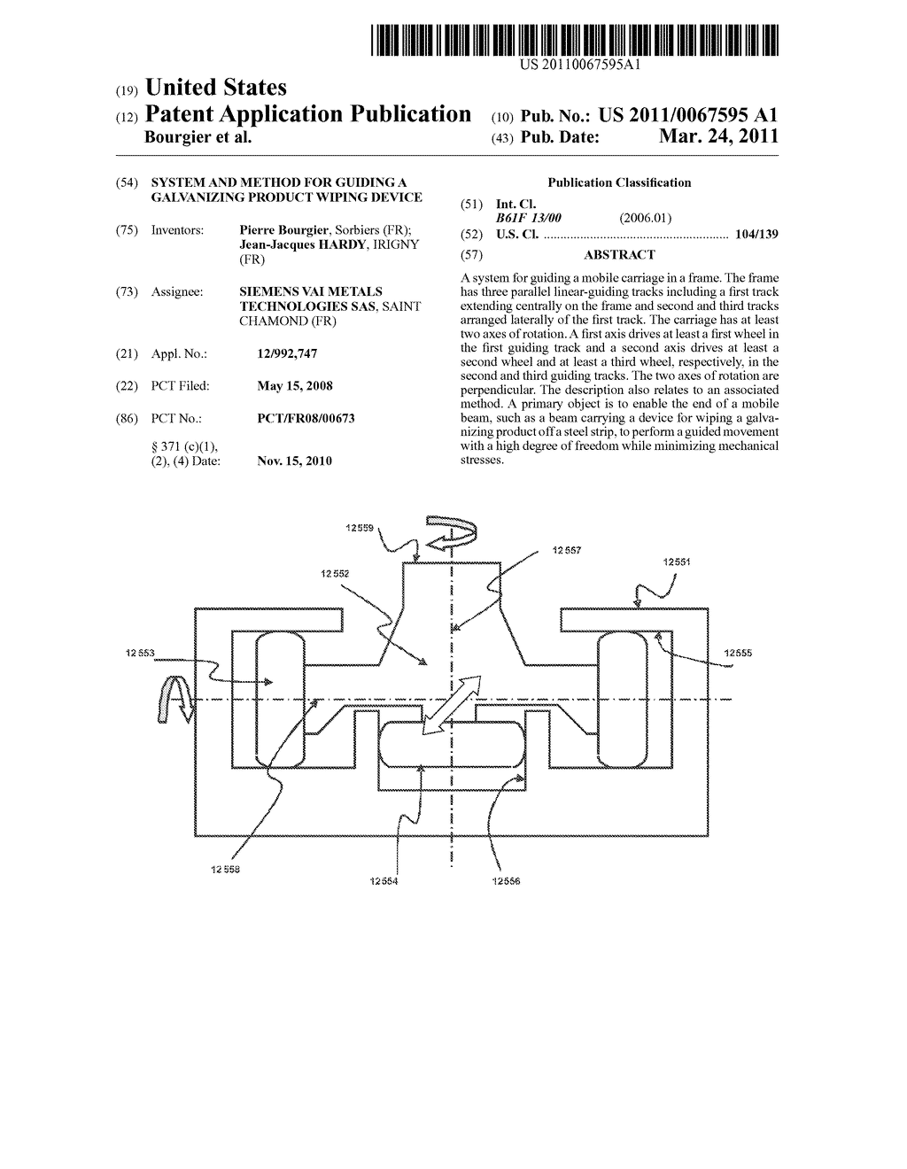 SYSTEM AND METHOD FOR GUIDING A GALVANIZING PRODUCT WIPING DEVICE - diagram, schematic, and image 01