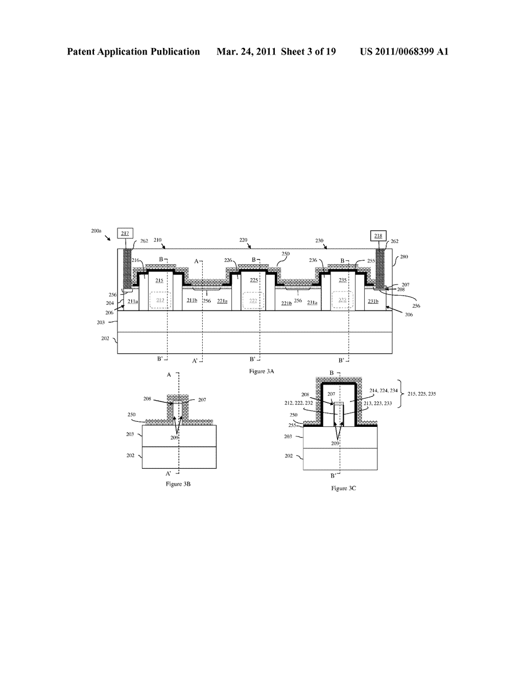 INTEGRATED CIRCUIT DEVICE WITH SERIES-CONNECTED FIELD EFFECT TRANSISTORS AND INTEGRATED VOLTAGE EQUALIZATION AND METHOD OF FORMING THE DEVICE - diagram, schematic, and image 04