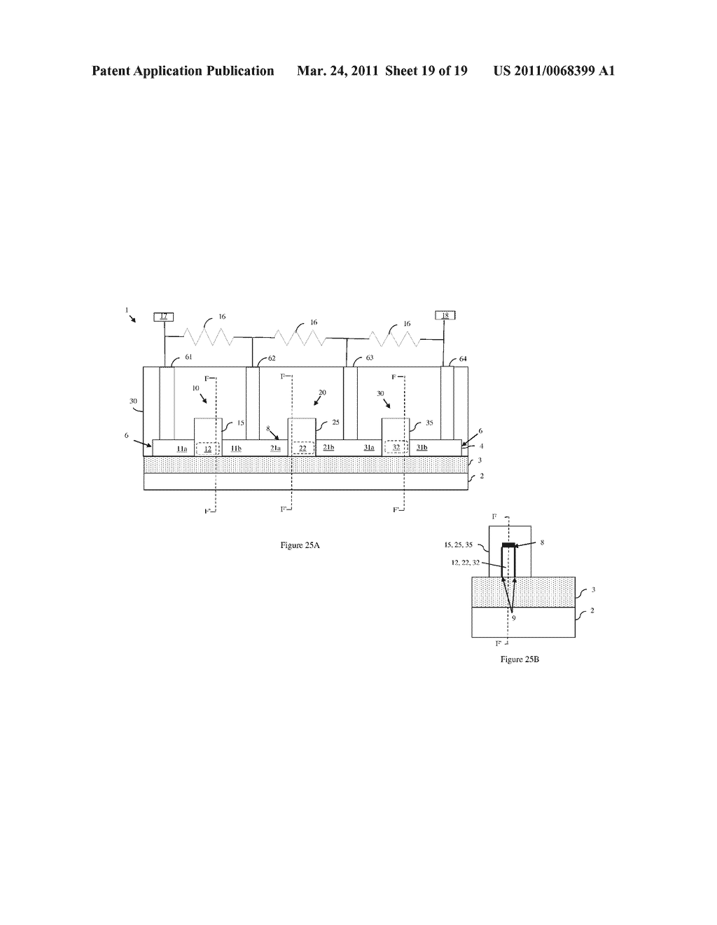 INTEGRATED CIRCUIT DEVICE WITH SERIES-CONNECTED FIELD EFFECT TRANSISTORS AND INTEGRATED VOLTAGE EQUALIZATION AND METHOD OF FORMING THE DEVICE - diagram, schematic, and image 20