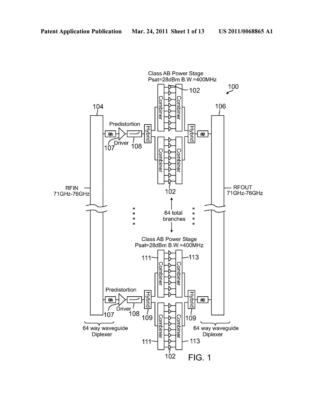 V-Band High-Power Transmitter With Integrated Power Combiner - diagram, schematic, and image 02