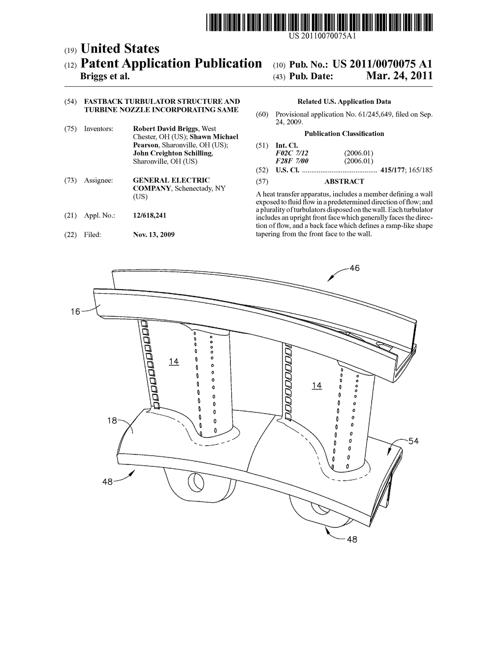 FASTBACK TURBULATOR STRUCTURE AND TURBINE NOZZLE INCORPORATING SAME - diagram, schematic, and image 01