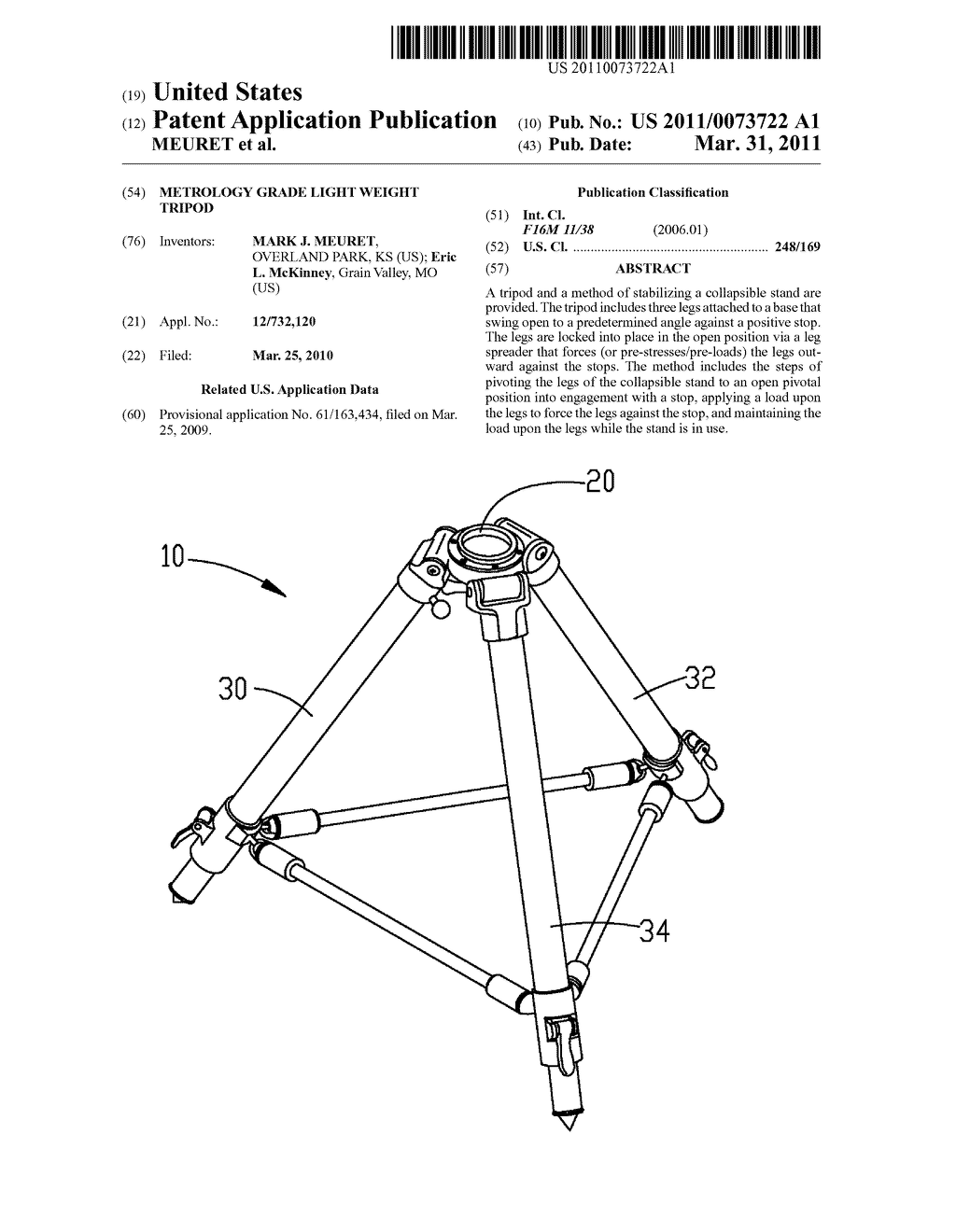 metrology grade light weight tripod - diagram, schematic, and image 01  patents