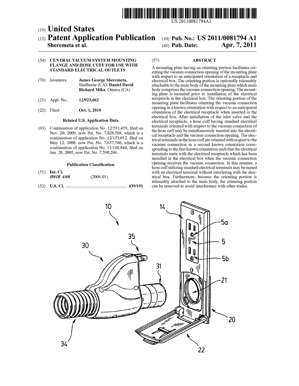 Central vacuum system mounting flange and hose cuff for use with standard  Electrical outlets - diagram, schematic, and image 01