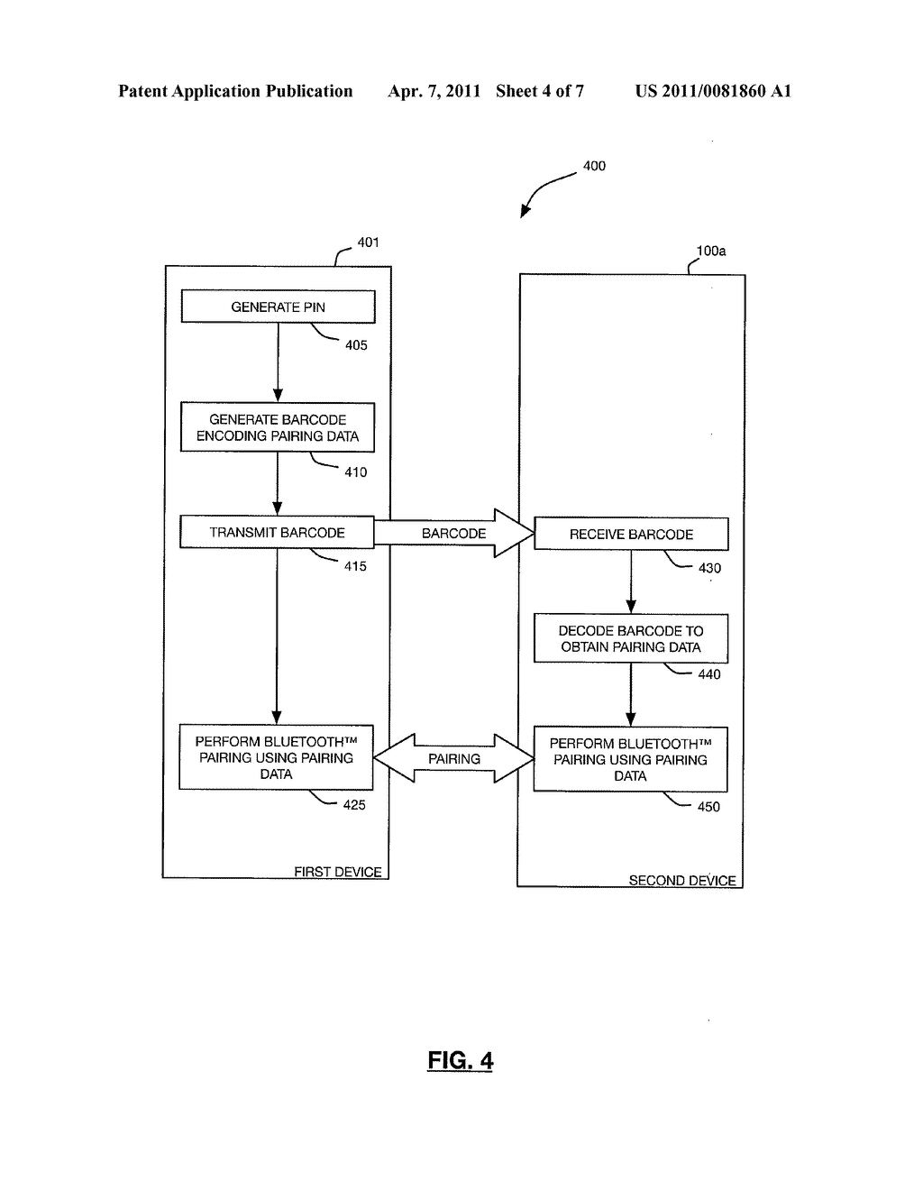 METHODS AND DEVICES FOR FACILITATING BLUETOOTH PAIRING USING A CAMERA AS A BARCODE SCANNER - diagram, schematic, and image 05