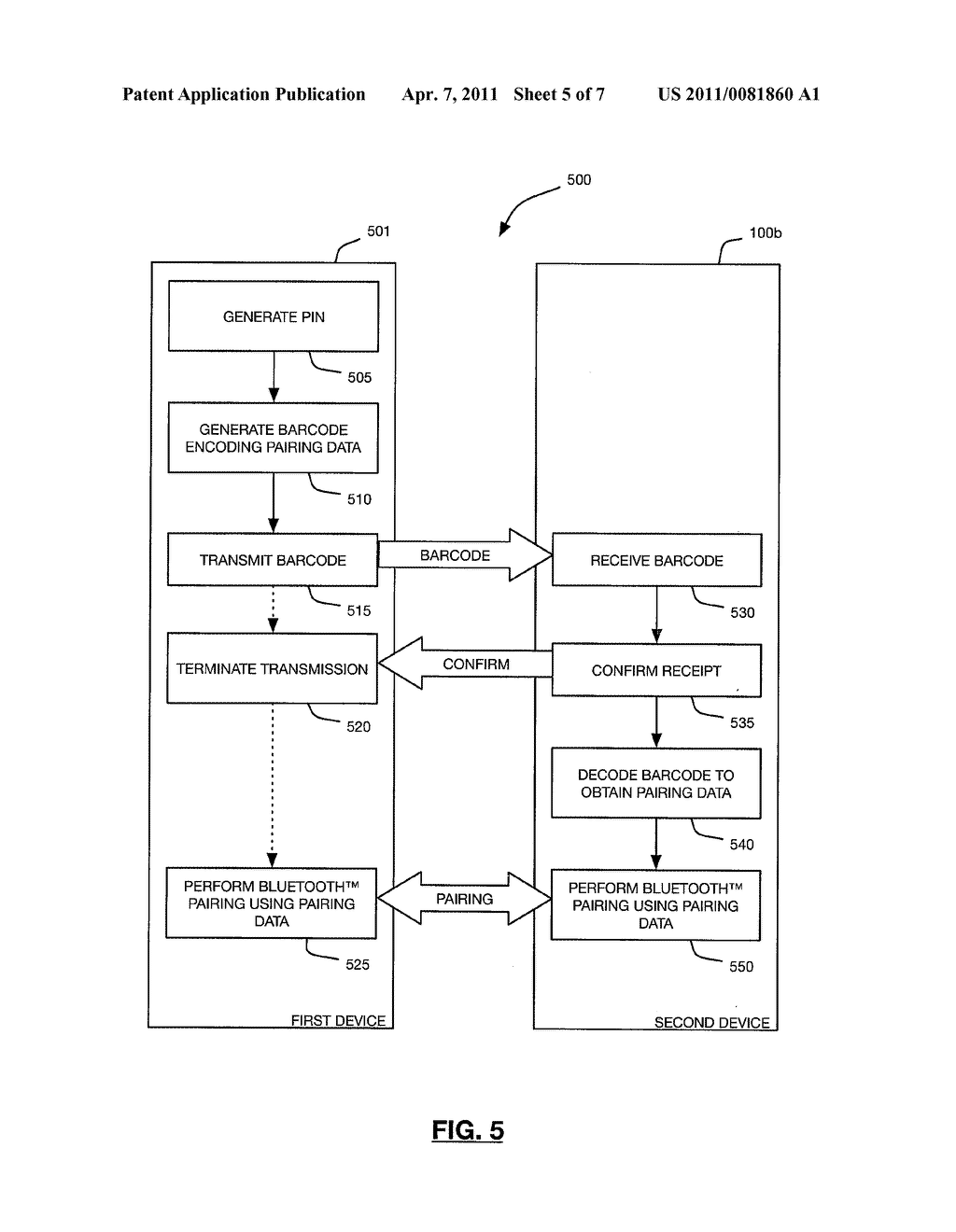 METHODS AND DEVICES FOR FACILITATING BLUETOOTH PAIRING USING A CAMERA AS A BARCODE SCANNER - diagram, schematic, and image 06