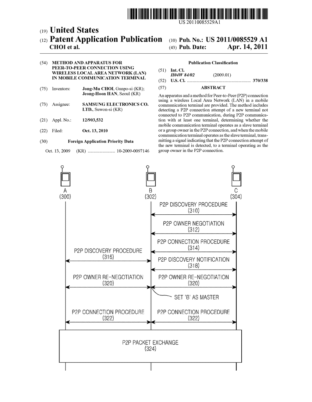 METHOD AND APPARATUS FOR PEER-TO-PEER CONNECTION USING WIRELESS LOCAL AREA NETWORK (LAN) IN MOBILE COMMUNICATION TERMINAL - diagram, schematic, and image 01