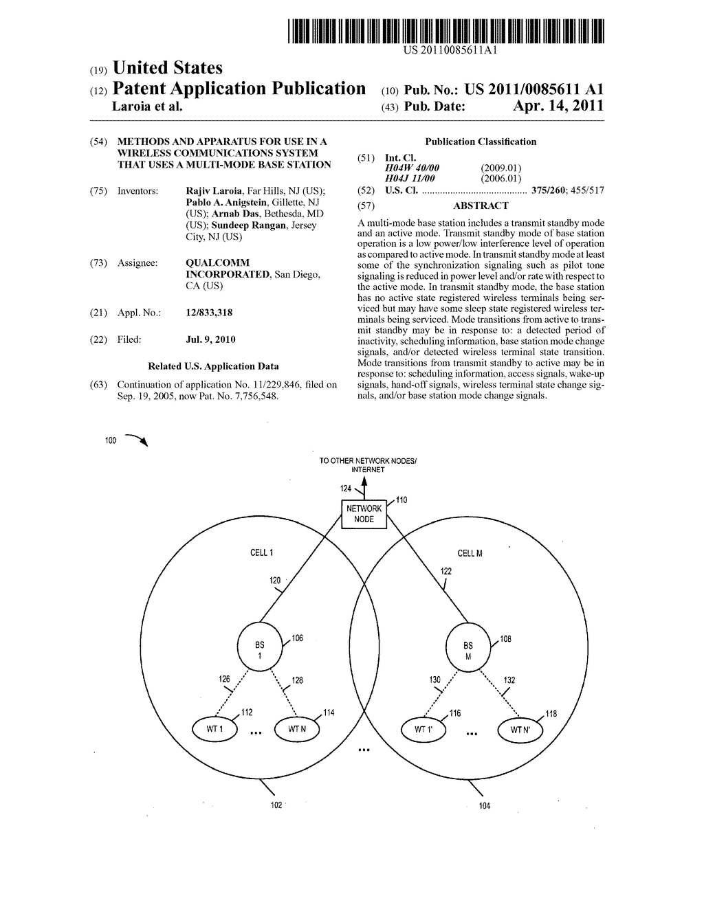 METHODS AND APPARATUS FOR USE IN A WIRELESS COMMUNICATIONS SYSTEM THAT USES A MULTI-MODE BASE STATION - diagram, schematic, and image 01