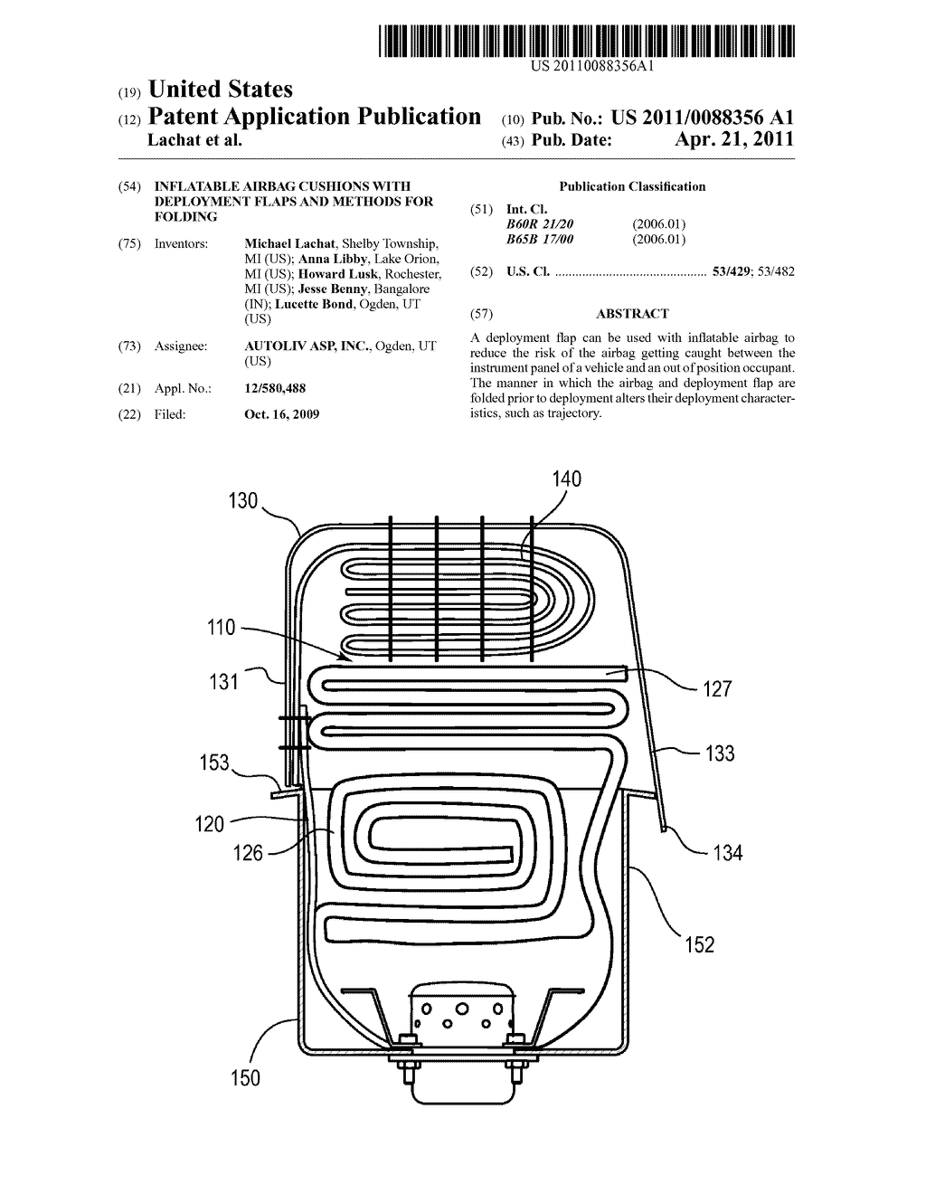 INFLATABLE AIRBAG CUSHIONS WITH DEPLOYMENT FLAPS AND METHODS FOR FOLDING - diagram, schematic, and image 01