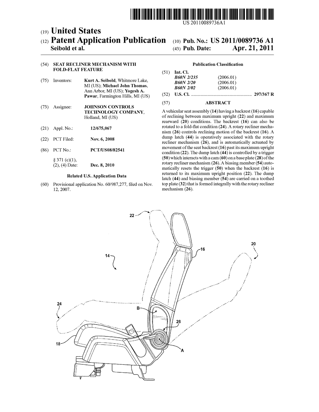 Seat Recliner Mechanism With Fold-Flat Feature - diagram, schematic, and image 01