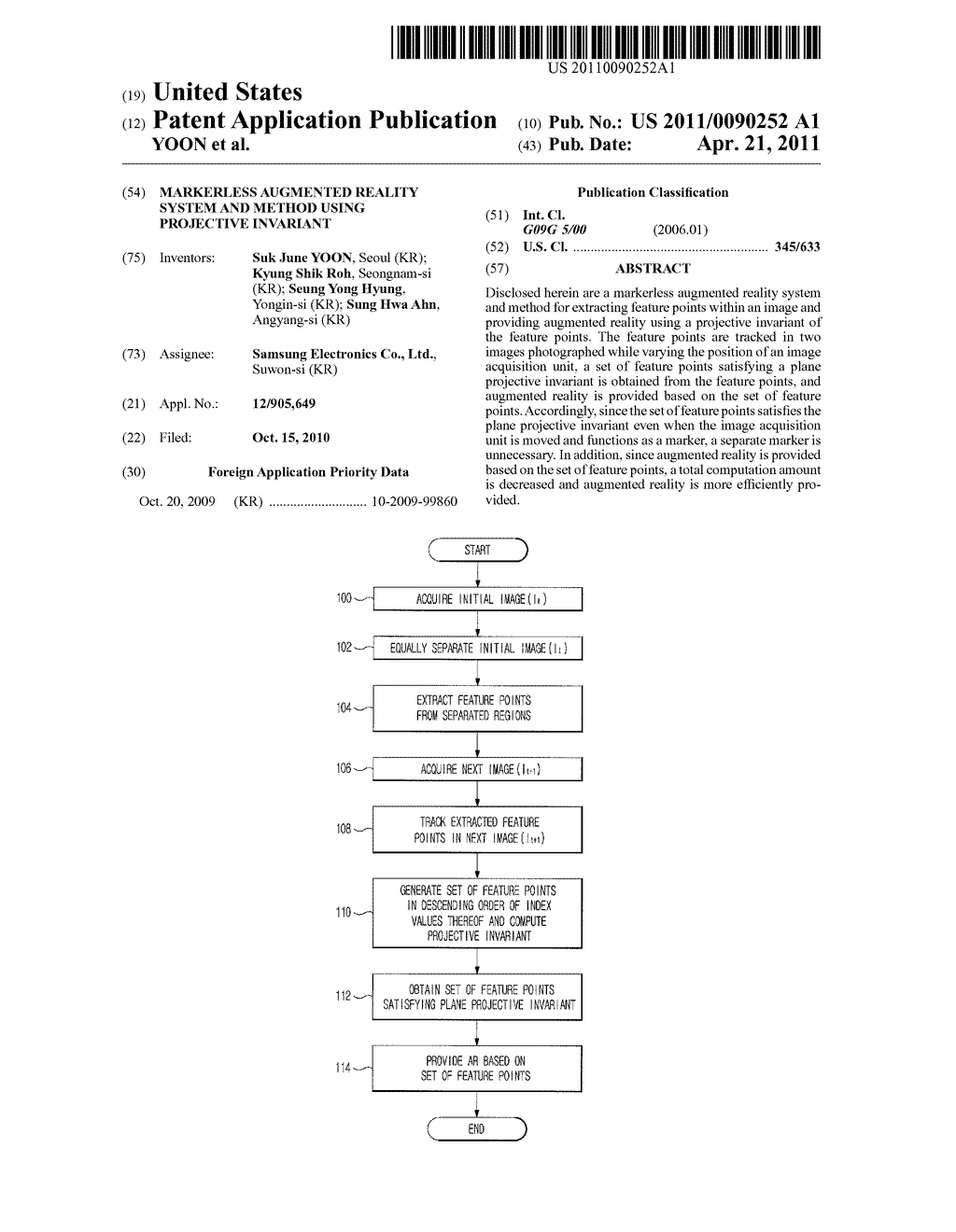 MARKERLESS AUGMENTED REALITY SYSTEM AND METHOD USING PROJECTIVE INVARIANT - diagram, schematic, and image 01