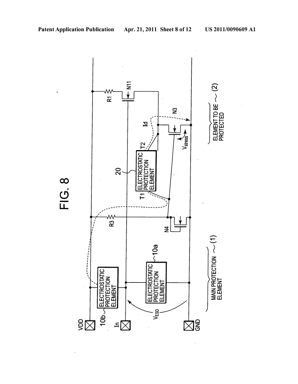Electrostatic protection circuit - diagram, schematic, and image 09