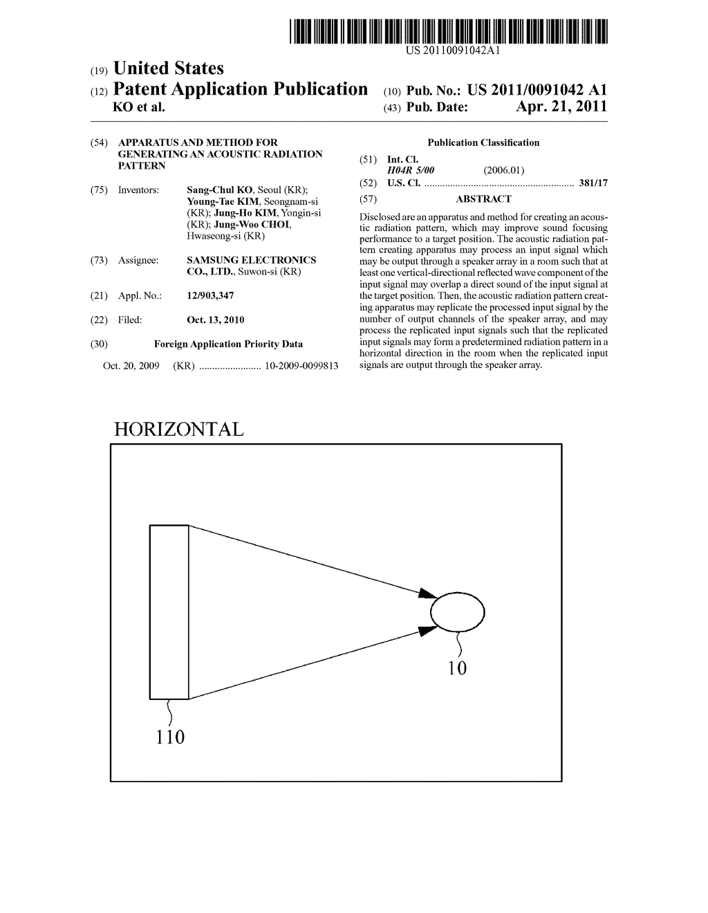 APPARATUS AND METHOD FOR GENERATING AN ACOUSTIC RADIATION PATTERN - diagram, schematic, and image 01