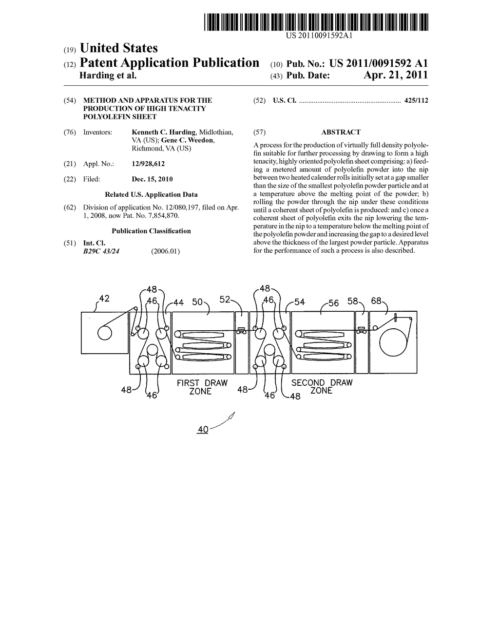 Method and apparatus for the production of high tenacity polyolefin sheet - diagram, schematic, and image 01