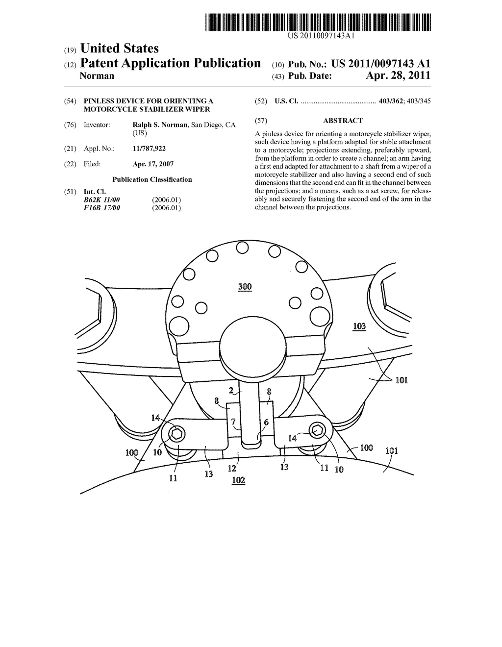Pinless device for orienting a motorcycle stabilizer wiper - diagram, schematic, and image 01