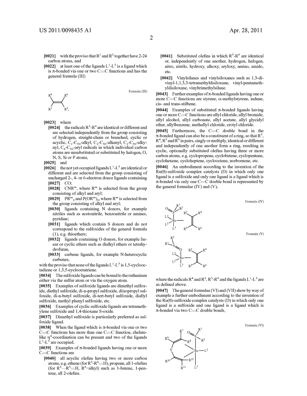 RU SULFOXIDE COMPLEXES, THEIR PREPARATION AND USE - diagram, schematic, and image 03