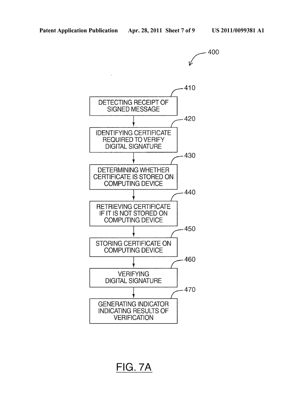SYSTEM AND METHOD FOR RETRIEVING CERTIFICATES ASSOCIATED WITH SENDERS OF DIGITALLY SIGNED MESSAGES - diagram, schematic, and image 08