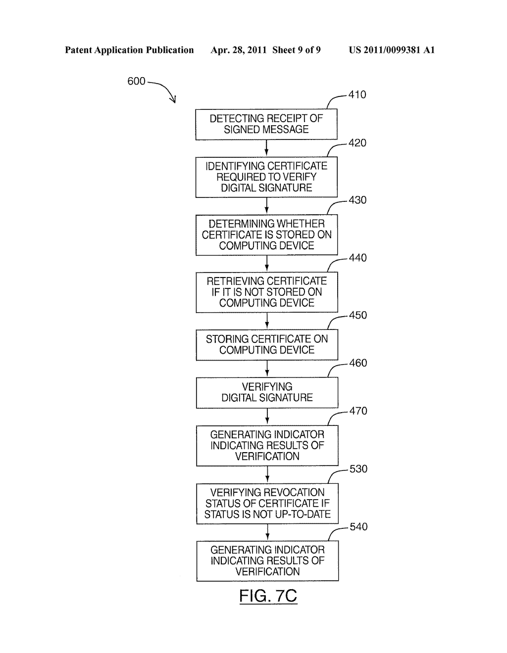 SYSTEM AND METHOD FOR RETRIEVING CERTIFICATES ASSOCIATED WITH SENDERS OF DIGITALLY SIGNED MESSAGES - diagram, schematic, and image 10