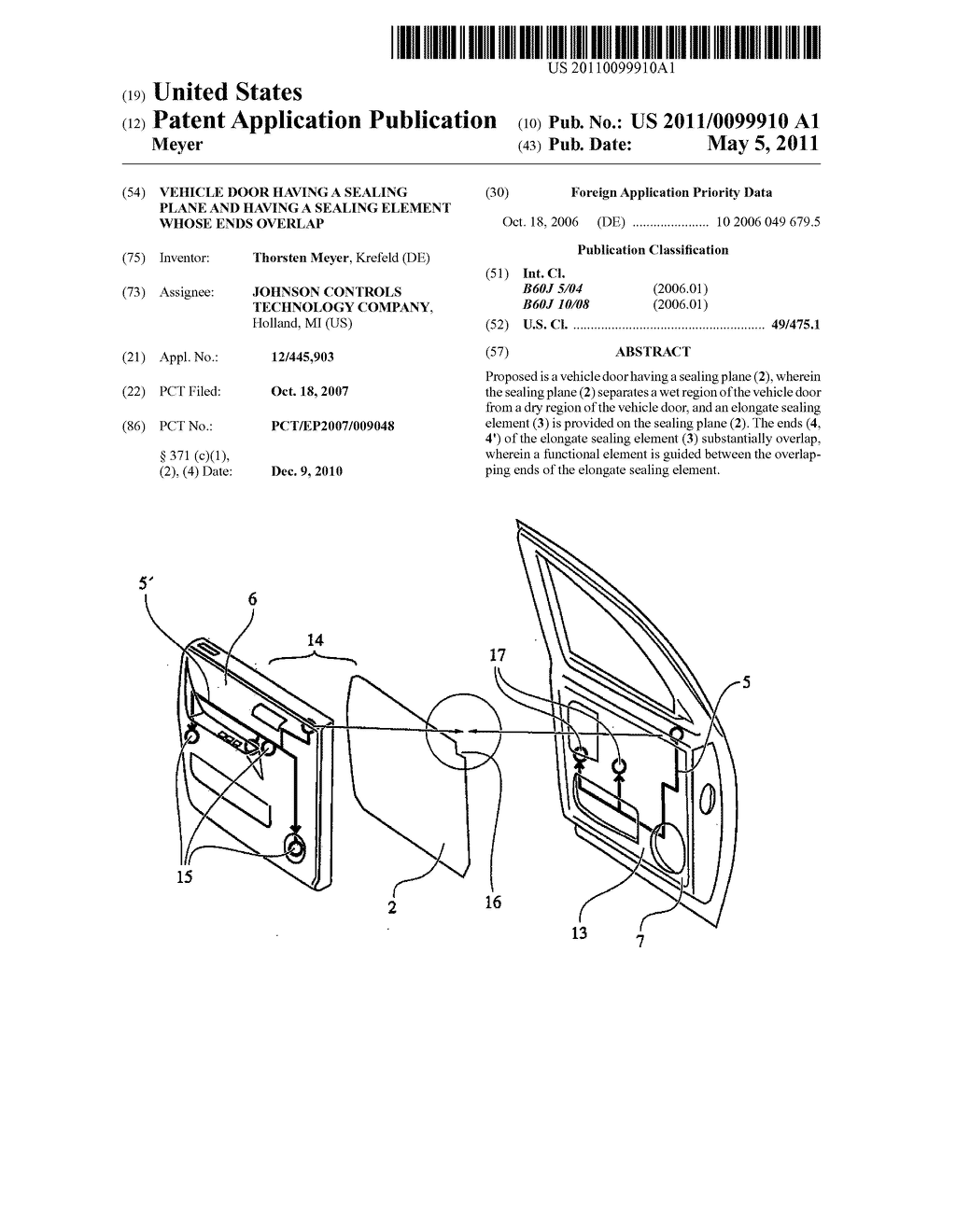 VEHICLE DOOR HAVING A SEALING PLANE AND HAVING A SEALING ELEMENT WHOSE ENDS OVERLAP - diagram, schematic, and image 01