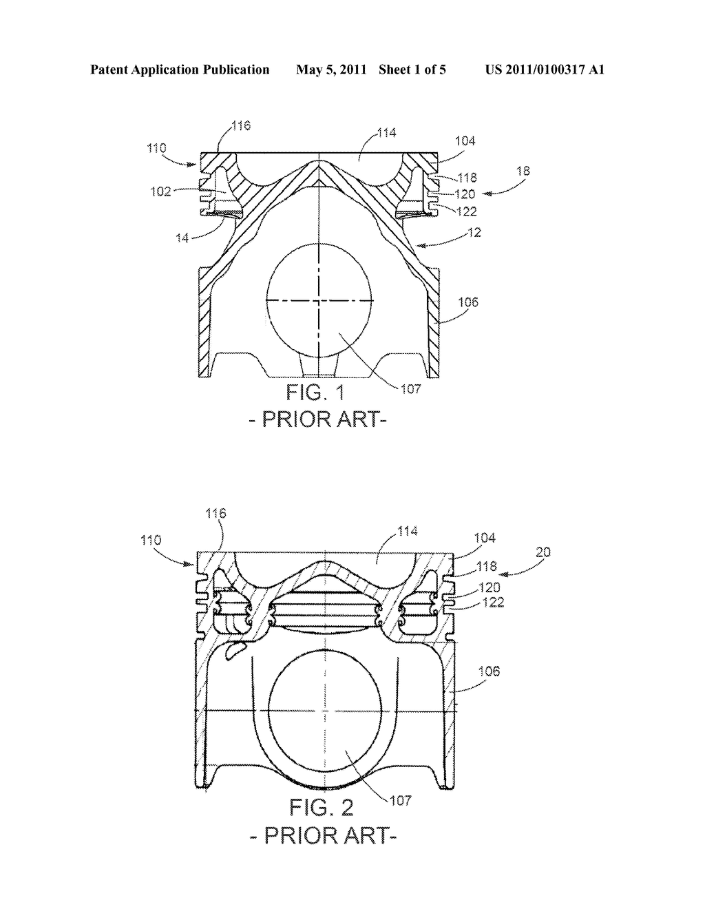 Weight balanced internal combustion engine piston - diagram, schematic, and  image 02