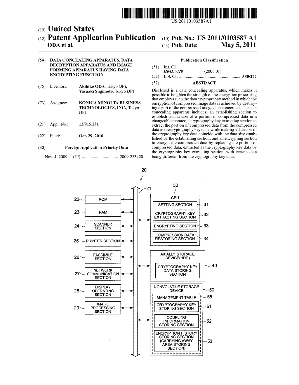 DATA CONCEALING APPARATUS, DATA DECRYPTION APPARATUS AND IMAGE FORMING APPARATUS HAVING DATA ENCRYPTING FUNCTION - diagram, schematic, and image 01