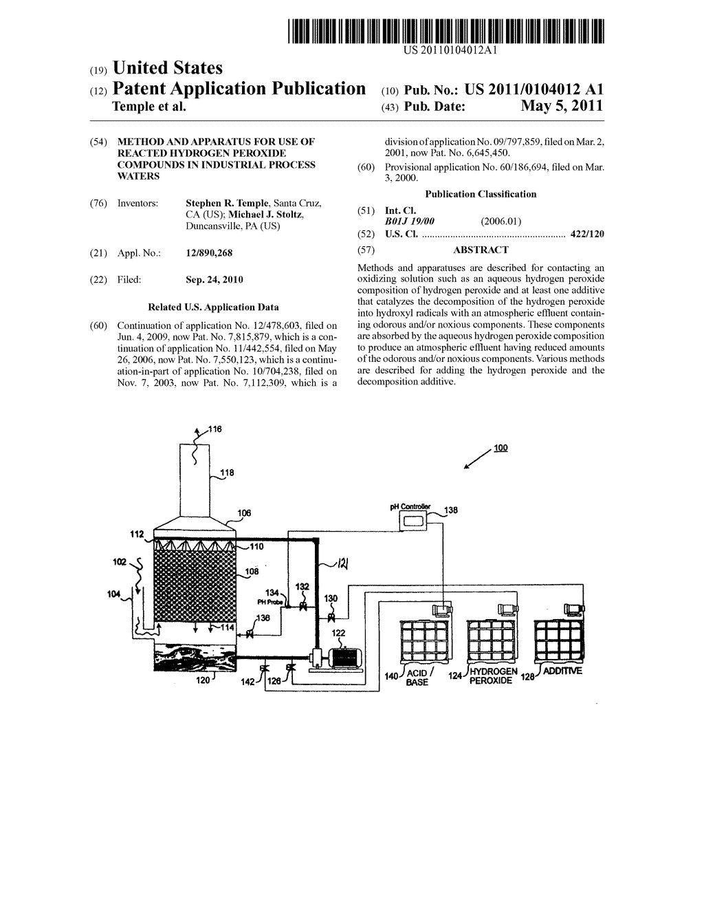 Method and Apparatus for Use of Reacted Hydrogen Peroxide Compounds in Industrial Process Waters - diagram, schematic, and image 01