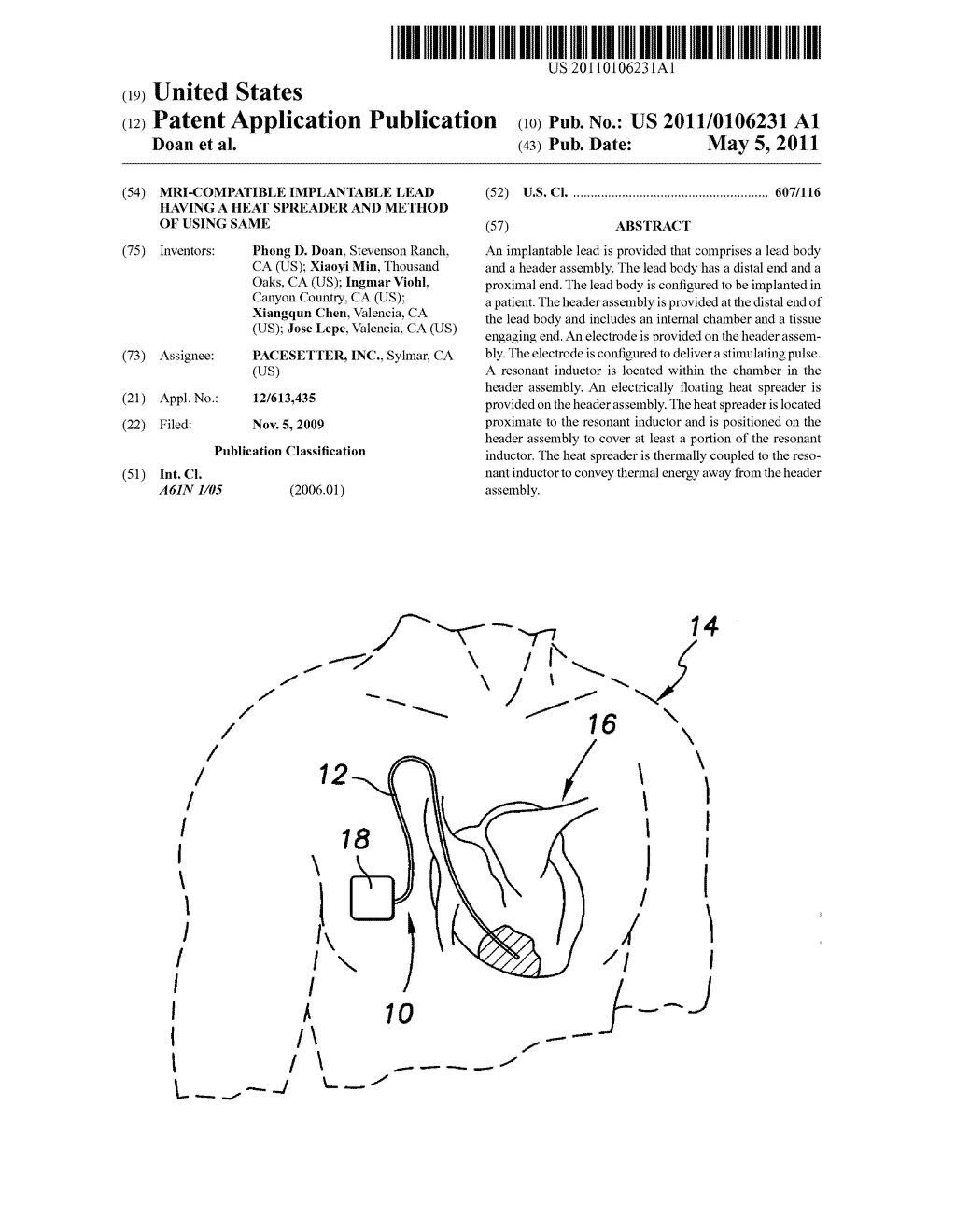 MRI-COMPATIBLE IMPLANTABLE LEAD HAVING A HEAT SPREADER AND METHOD OF USING SAME - diagram, schematic, and image 01