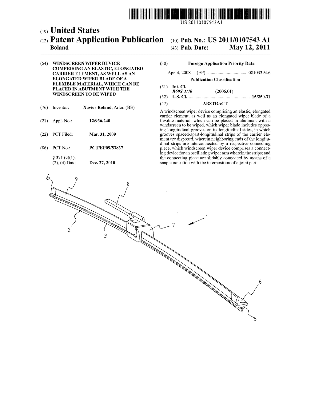 WINDSCREEN WIPER DEVICE COMPRISING AN ELASTIC, ELONGATED CARRIER ELEMENT, AS WELL AS AN ELONGATED WIPER BLADE OF A FLEXIBLE MATERIAL, WHICH CAN BE PLACED IN ABUTMENT WITH THE WINDSCREEN TO BE WIPED - diagram, schematic, and image 01