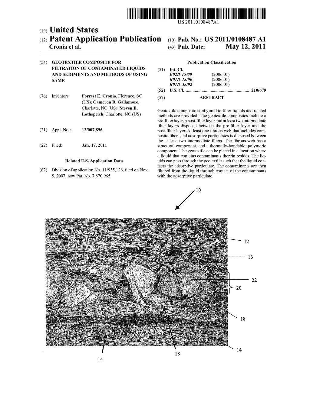 Geotextile composite for filtration of contaminated liquids and sediments and methods of using same - diagram, schematic, and image 01