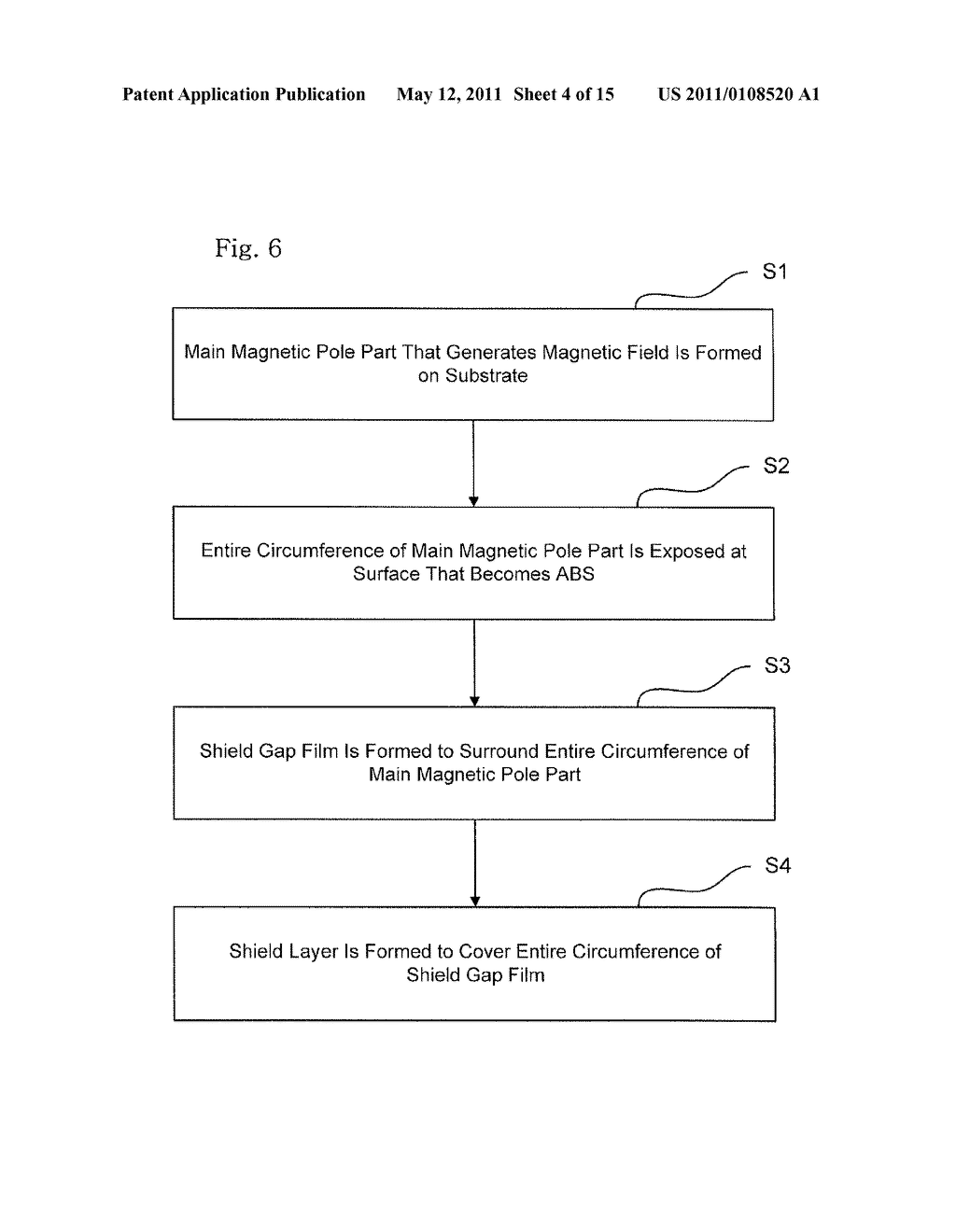 Method for manufacturing perpendicular magnetic head including a main pole surrounded by shield layers - diagram, schematic, and image 05