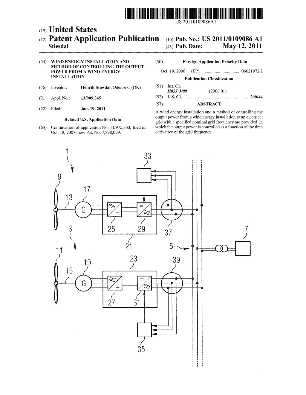 Wind Energy Installation and Method of Controlling the Output Power from a Wind Energy Installation - diagram, schematic, and image 01
