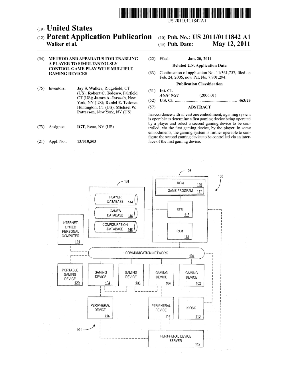 METHOD AND APPARATUS FOR ENABLING A PLAYER TO SIMULTANEOUSLY CONTROL GAME PLAY WITH MULTIPLE GAMING DEVICES - diagram, schematic, and image 01