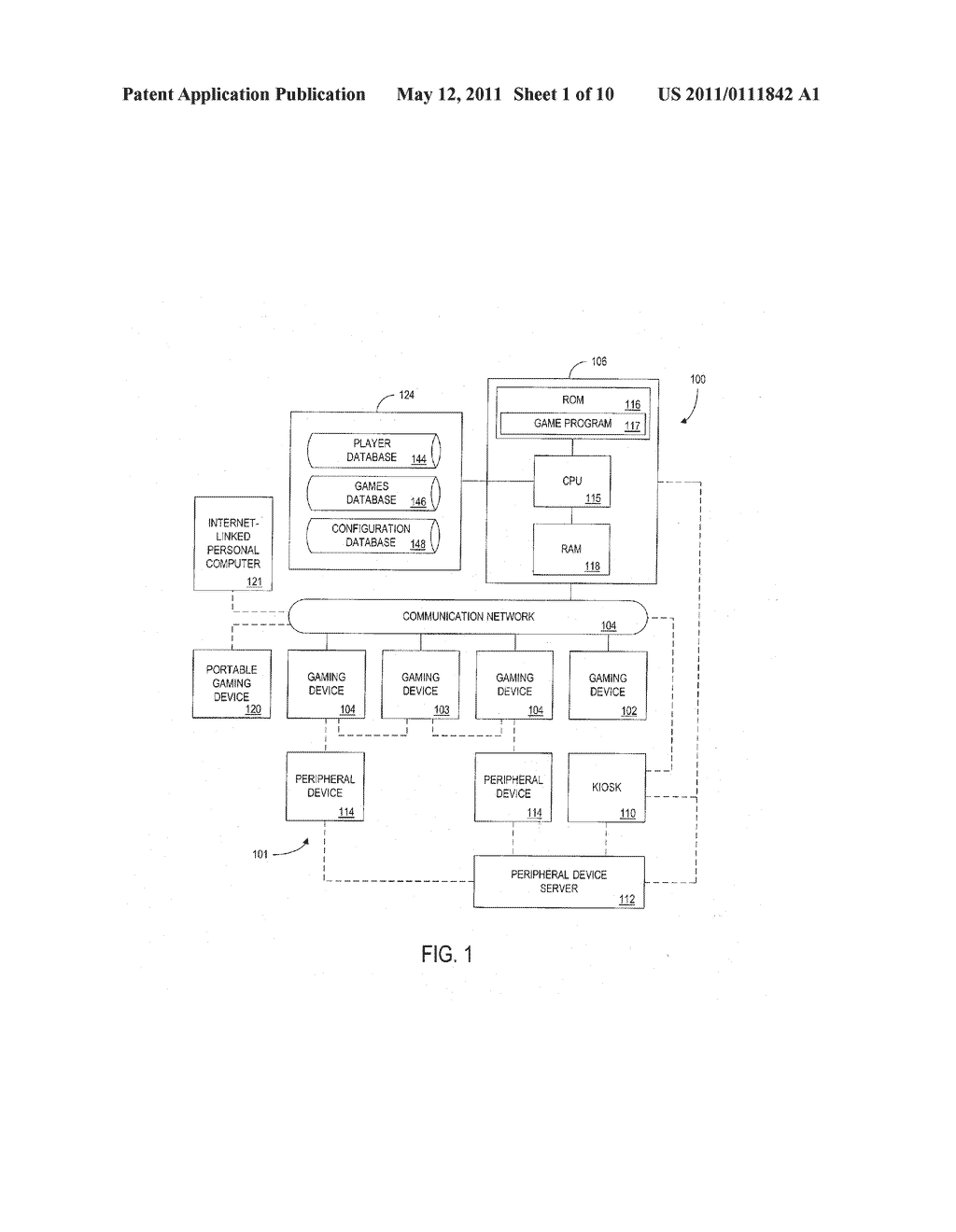 METHOD AND APPARATUS FOR ENABLING A PLAYER TO SIMULTANEOUSLY CONTROL GAME PLAY WITH MULTIPLE GAMING DEVICES - diagram, schematic, and image 02
