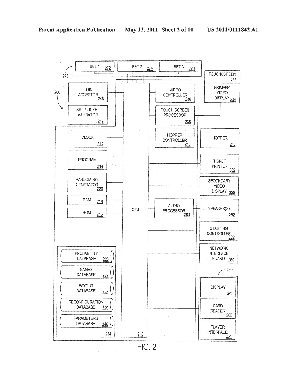 METHOD AND APPARATUS FOR ENABLING A PLAYER TO SIMULTANEOUSLY CONTROL GAME PLAY WITH MULTIPLE GAMING DEVICES - diagram, schematic, and image 03