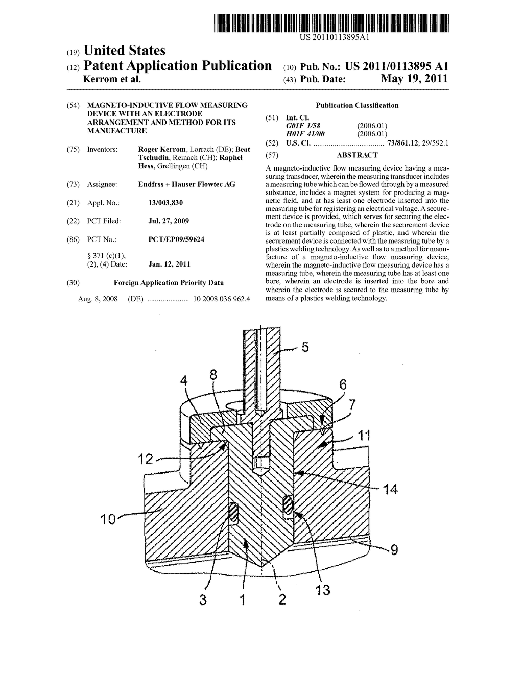 MAGNETO-INDUCTIVE FLOW MEASURING DEVICE WITH AN ELECTRODE ARRANGEMENT AND METHOD FOR ITS MANUFACTURE - diagram, schematic, and image 01