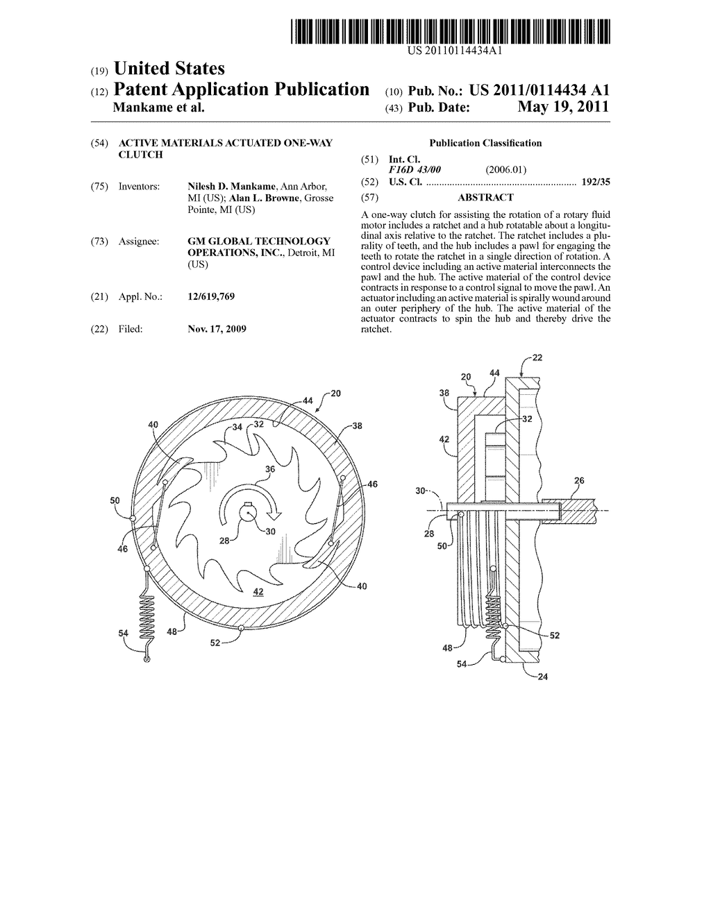 ACTIVE MATERIALS ACTUATED ONE-WAY CLUTCH - diagram, schematic, and image 01