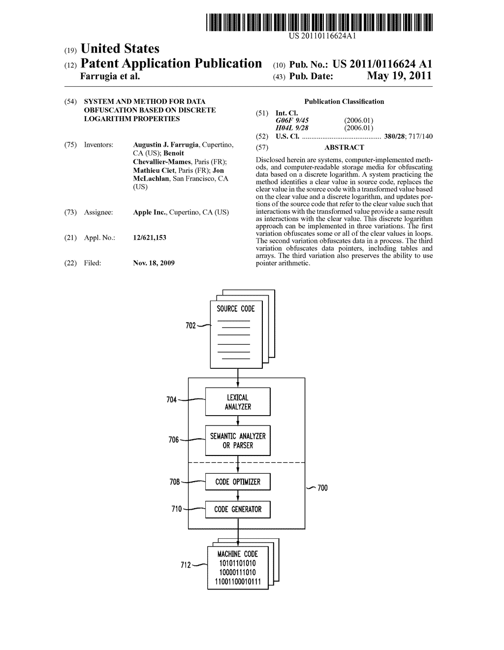 SYSTEM AND METHOD FOR DATA OBFUSCATION BASED ON DISCRETE LOGARITHM PROPERTIES - diagram, schematic, and image 01