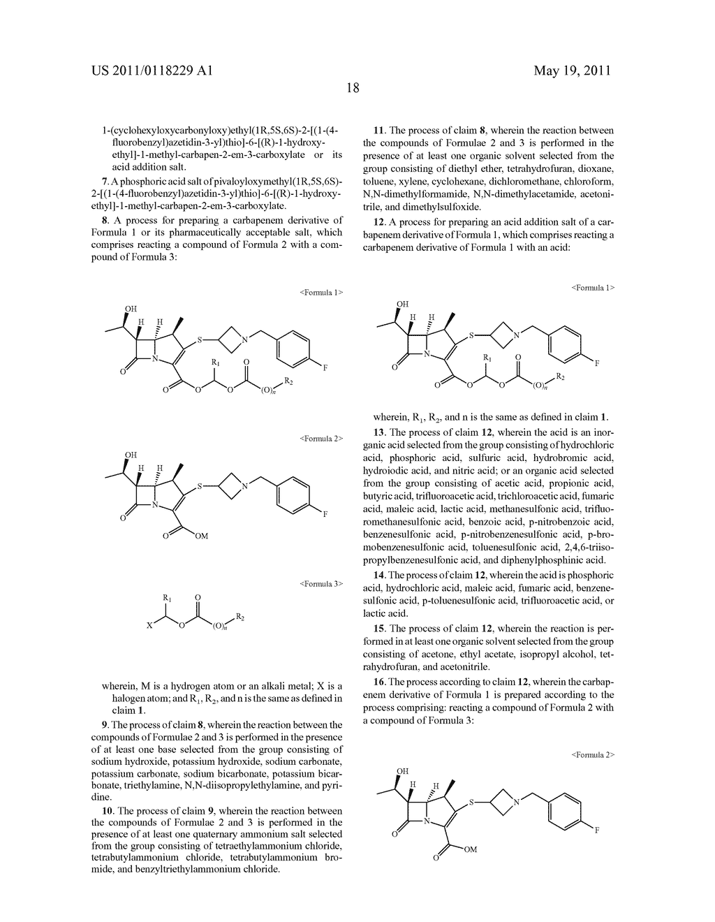 2-ARYLMETHYLAZETIDINE-CARBAPENEM-3-CARBOXYLIC ACID ESTER DERIVATIVE OR ITS SALT, PROCESS FOR THE PREPARATION THEREOF AND PHARMACEUTICAL COMPOSITION COMPRISING THE SAME - diagram, schematic, and image 20