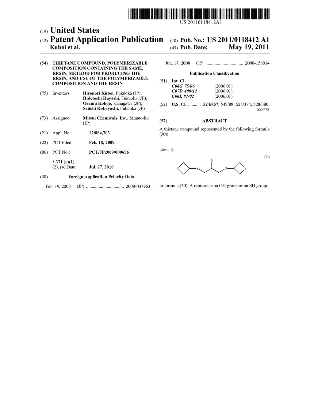 THIETANE COMPOUND, POLYMERIZABLE COMPOSITION CONTAINING THE SAME, RESIN, METHOD FOR PRODUCING THE RESIN, AND USE OF THE POLYMERIZABLE COMPOSITION AND THE RESIN - diagram, schematic, and image 01